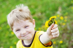 Child holds flowers Stock Images
