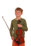 Boy holds violin Royalty Free Stock Photography