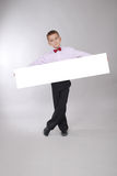Boy holds white board Stock Photo