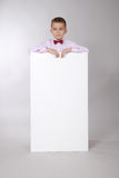 Boy holds white board Stock Photos