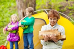 Boy holds the wood for camping bonfire in forest Stock Photo