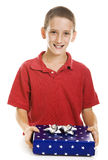 Boy with Holiday Gift Royalty Free Stock Photo