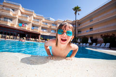 Boy on holiday stock photography