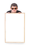 Boy and hollow frame stock photos