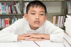 Boy  and  homework. Royalty Free Stock Image