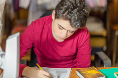 Boy on homeworks Stock Photography