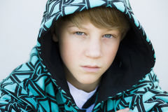 Boy in Hood Looking to Camera Royalty Free Stock Photos