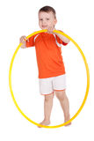 Boy with a hoop Royalty Free Stock Photography