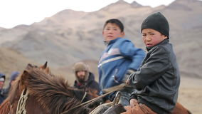 Boy on horse stock video footage