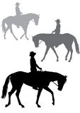 Boy on horse. Boy riding a horse. Horse riding walk. Silhouette on a white background Royalty Free Stock Photo