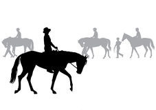 Boy on horse. Boy riding a horse. Horse riding walk. Silhouette on a white background Stock Photos