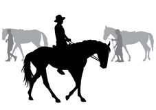 Boy on horse. Boy riding a horse. Horse riding walk. Silhouette on a white background Stock Photo