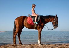 A boy on horseback Royalty Free Stock Image