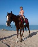 A boy on horseback Royalty Free Stock Photography