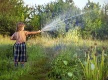 Boy hose garden on summer day. Boy hose garden on a summer day stock image