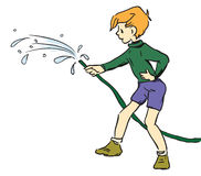 Boy with hose Stock Photos