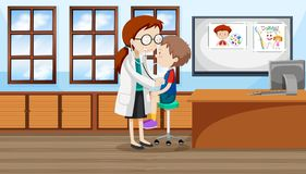 A boy at hospital stock illustration