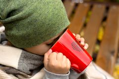 Boy with hot mug of tea. A little boy with a hot mug of tea, wrapped in a warm blanket, on an outdoor bench in autumn Royalty Free Stock Photography