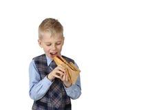 Boy with Hotdog Stock Photography