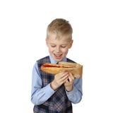 Boy with Hotdog Royalty Free Stock Photo