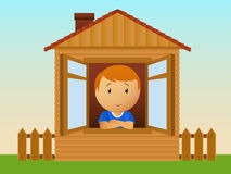 Boy in the house Royalty Free Stock Image