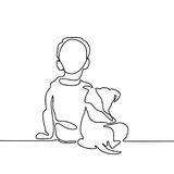 Boy hug dog Royalty Free Stock Image