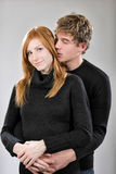 Boy hugging his girlfriend Royalty Free Stock Images