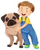 Boy hugging pet dog Royalty Free Stock Photos