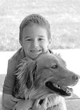 Boy Hugging Retriever Stock Images