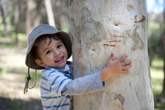 Boy Hugging Tree. A little boy shows affection and love for nature by hugging a tree Stock Photo