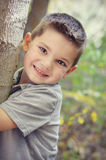 Boy Hugging Tree Royalty Free Stock Photo