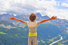 Boy hugging the world. Image Stock Images