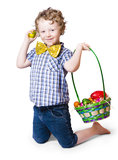 Boy Easter egg hunting Stock Image