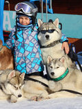 Boy and husky. In a ski resort Stock Photo