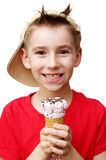 Boy with ice cream. Cute boy with ice cream in his hand isolated on white Royalty Free Stock Photography
