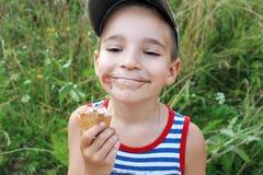 Boy with ice cream Stock Photo