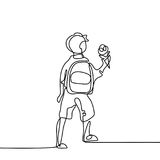 Boy with ice-cream going back to school with bag. Continuous line drawing. Vector illustration on white background Stock Images