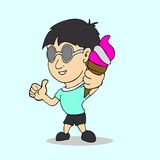 Boy with ice cream in hand cartoon Royalty Free Stock Image