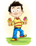 Boy with ice cream Stock Photos