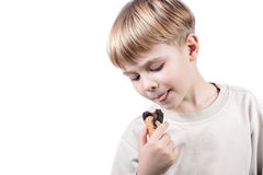 Boy with ice-cream isolated Stock Image