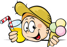 Boy with ice cream and juice peeking Royalty Free Stock Image