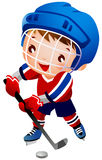 Boy ice hockey player. A boy is playing ice hockey wearing hockey uniform Royalty Free Stock Images