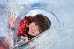 Boy with an ice sculpture, urban esp Royalty Free Stock Images