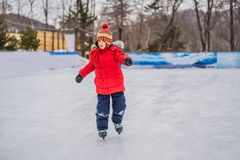 Free Boy Ice Skating For The First Time Royalty Free Stock Images - 168428999