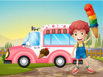 A boy with icecream and the pink car. Illustration of a boy with icecream and the pink car Stock Images