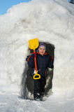 Boy in igloo Stock Photos