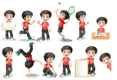 Boy. Illustration of a black hair boy in different position Stock Images