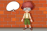 A boy. Illustration of a boy standing in front of a wall Stock Image