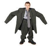 Boy In Big Man S Suit And Boots Nads At Sides Stock Photo