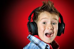 Boy In Headphones Stock Photos